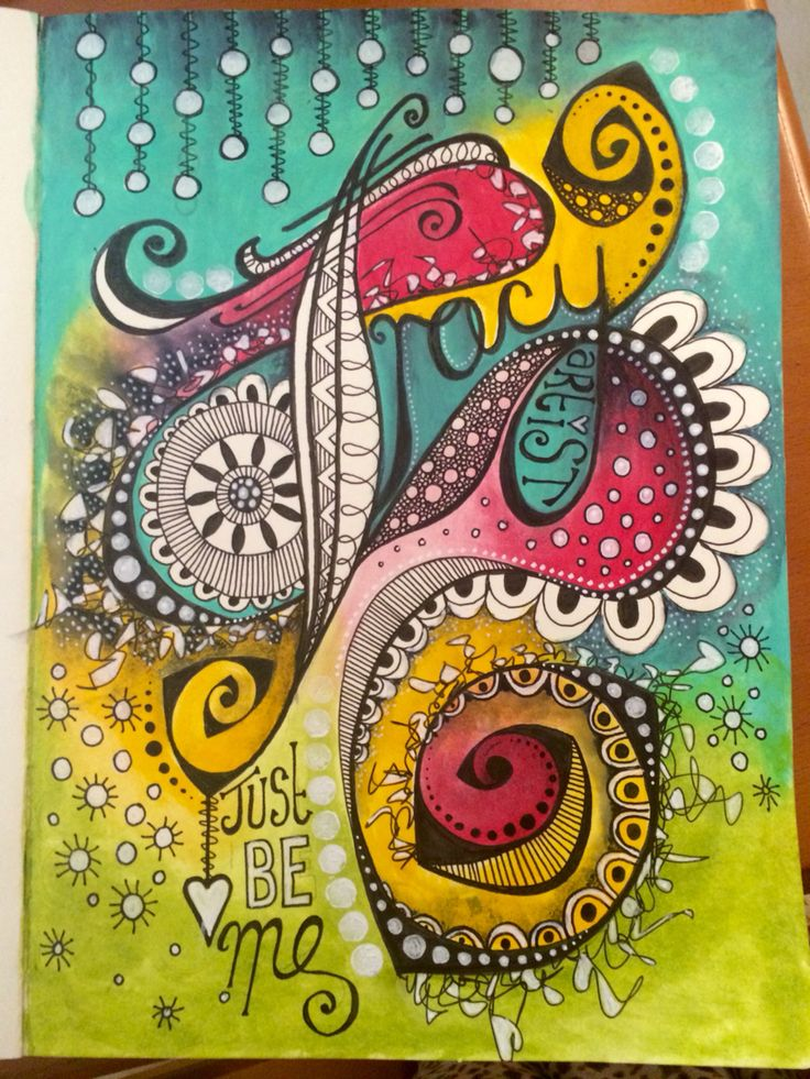 Doodle art journal page - just be me !! #art #acrylic #artjournal #artjournals #artjournaling #artjournalpage #color #colour #doodle #doodles #doodling #decoart #handlettering #journal #letteringdesign #medialine #mixedmedia #mixedmediaart #pen #paint #tombow #tombowmarkers