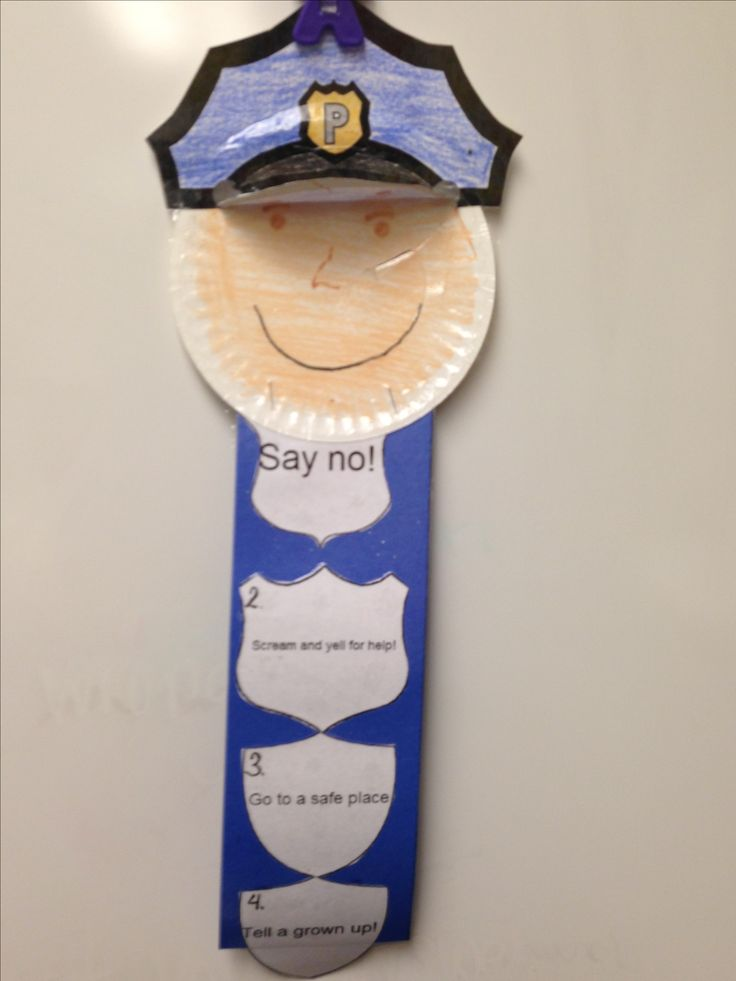Created by Tracey Spain Stranger Danger:  Read the story Scoop by Julia Cook and have students create a safety police officer.