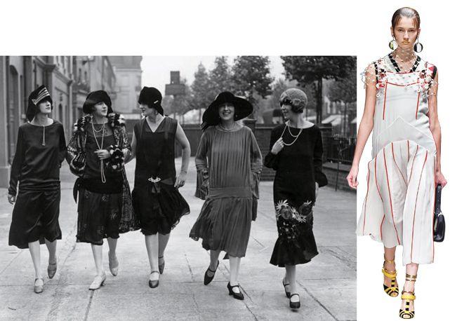 1920 – Modelos no Holland Park, em Londres, e modelo no desfile da Prada, verão 2016