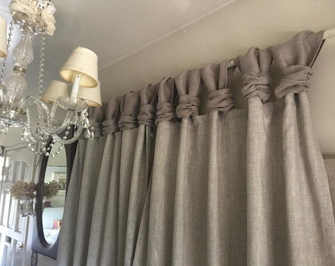 Burlap Wide Ruched Tabs Curtain Silver Jewelry White Burlap Burlap Curtains Linen Curtains Ruffle Curtains