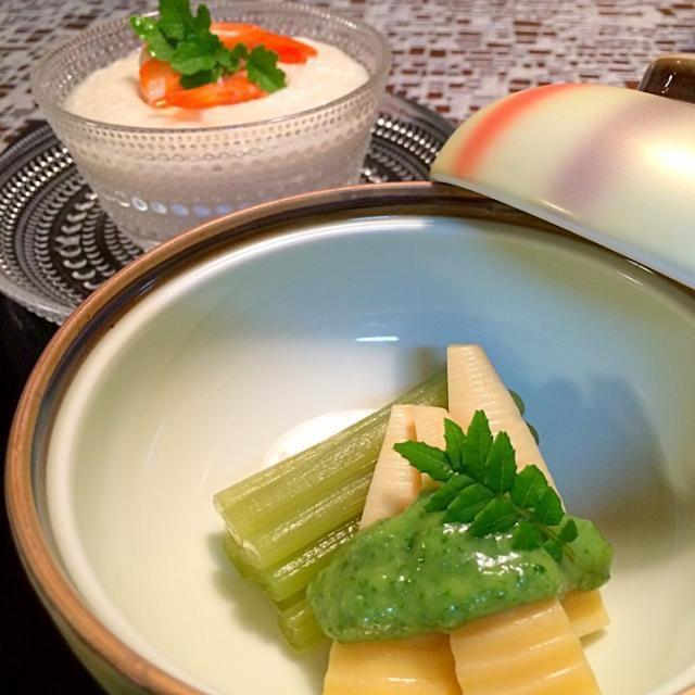 今夜はメインがお野菜です❗️ 蕗は綺麗な緑にこだわって翡翠煮にしてみました - 432件のもぐもぐ - ふきの翡翠煮  筍の木の芽味噌   薯預蒸し by AIMABLE
