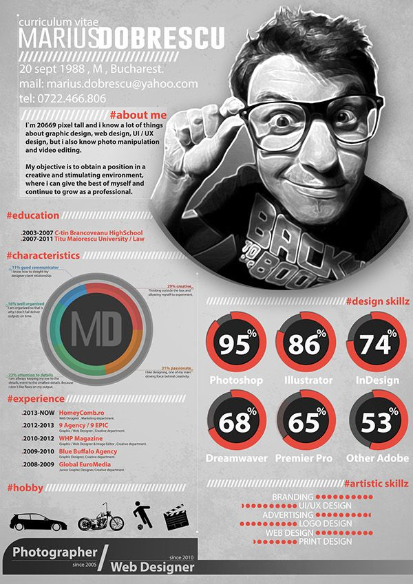 Obviously not something everyone can do, but this amazing resume concept is quite bold and eye-catching, by Marius Dobrescu. For more resume inspirations click here: http://www.pinterest.com/sheppardaaron/-design-resumes/ Creative Resume Design, Resume Style, Resume Design, Curriculum Vitae, CV, Resume Template, Resumes, Resume Format.