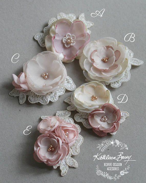 Lace handmade flower motifs – Flower girl retinue hair clip – Ivory Blush pink rose gold – Wedding Accessories
