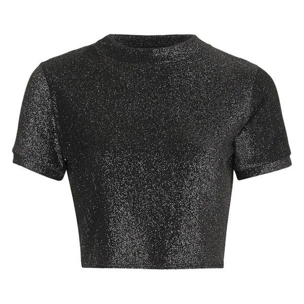 Women's Topshop Metallic Short Sleeve Crop Tee ($19) ❤ liked on Polyvore featuring tops, t-shirts, crop top, topshop, crop tee, metallic t shirt, metallic tee, metallic top and cut-out crop tops