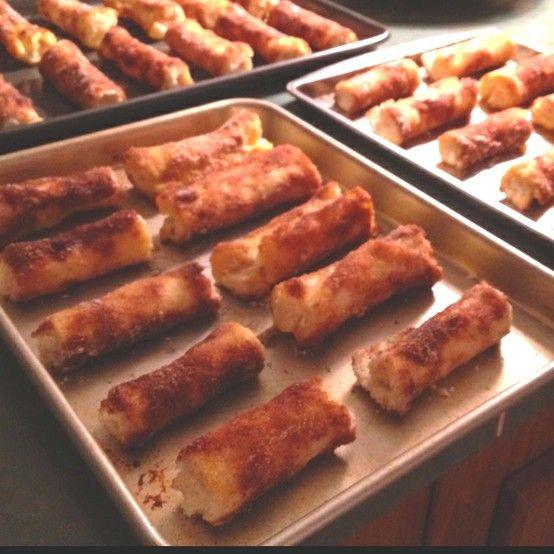 cinnamon cream cheese rollups -- white bread, cream cheese, powdered sugar, cinnamon, sugar, melted butter