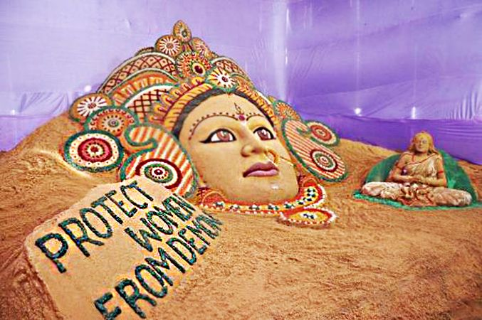 'Protect women from demon' - #DurgaPuja, #Navratri message on sand art by #SudarsanPattnaik.