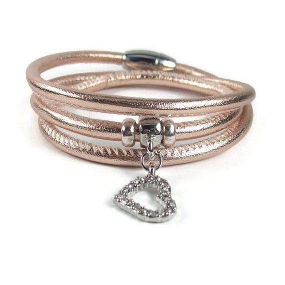 Rose Gold Leather Wrap Bracelet Womens by RealLeatherBracelets