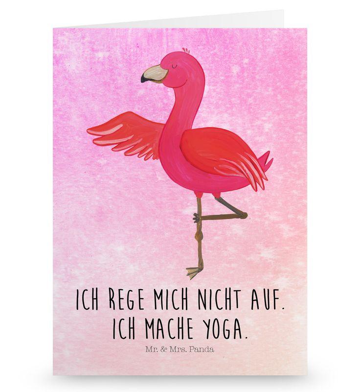 Grußkarte Flamingo Yoga aus Karton 300 Gramm  weiß - Das Original von Mr. & Mrs. Panda.  Die wunderschöne Grußkarte von Mr. & Mrs. Panda im Format Din Hochkant ist auf einem sehr hochwertigem Karton gedruckt. Der leichte Glanz der Klappkarte macht das Produkt sehr edel. Die Innenseite lässt sich mit deiner eigenen Botschaft beschriften.    Über unser Motiv Flamingo Yoga  Flamingos sind das Sommermaskottchen schlechthin. Wenn wir die pinken Paradiesvögel sehen, denken wir sofort an Sommer…