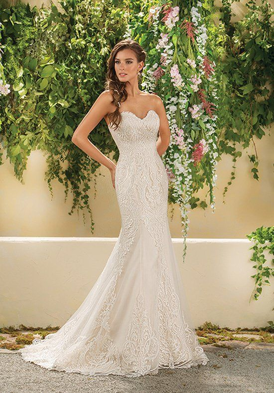 Tulle Jasmine Collection mermaid gown with lace overlay | Style: F181014