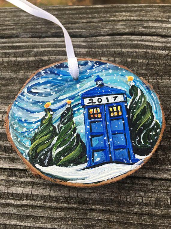 Winter TARDIS blue police box Whovian Christmas ornament SHIPS