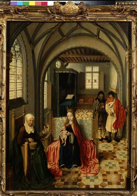 La Sainte Famille avec Sainte Anne et Saint Joachim. Maître d'Haarlem. Réunion…