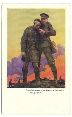 """Postcards were sold to raise funds for the soldiers who were blinded in the First World War. This one is titled """"Blinded"""" and came in a pack of six. #BlindVeteransUK #FirstWorldWar #PaintedPostcards #Postcards"""