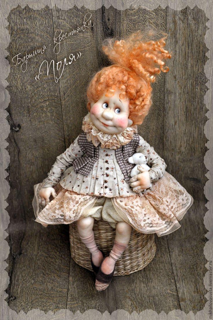 Купить Поля - бежевый, кукла ручной работы, подарок, девушка, кукла, в подарок, в интерьер
