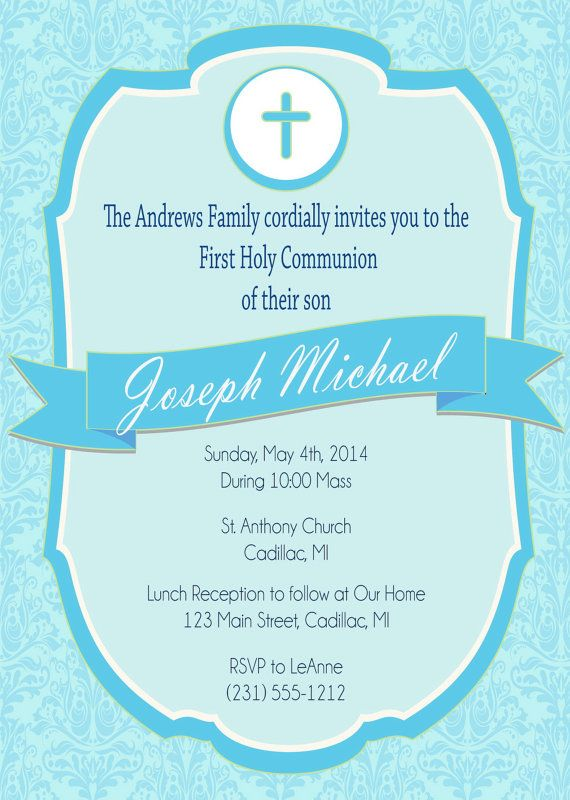 First Communion Invitation  Bpy's First Holy by FabPartyPrints