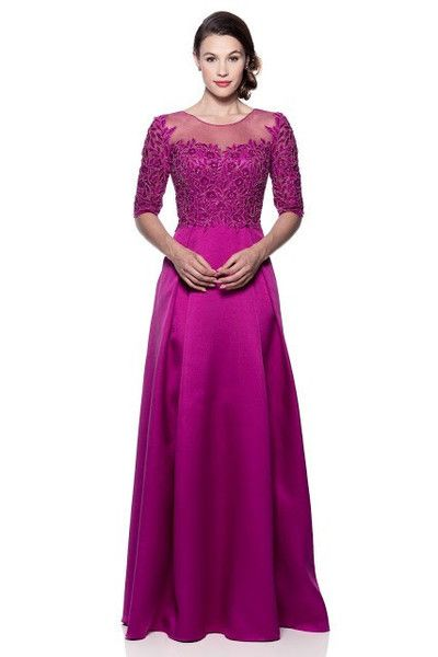 Beautiful Magenta 3/4 sleeves Mother of the Bride Dress Evening Gown Prom M - 2XL