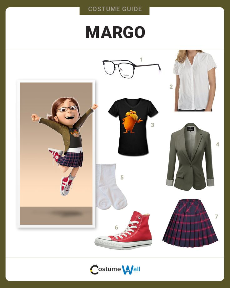 Follow our Margo Gru costume guide. Margo is one of three sisters that appear in the movie Despicable Me.