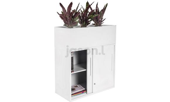 Sliding Door Office Storage Credenza with Planter Box Metal White. This unit comes with a lockable credenza and an environmentally friendly planter box. The unit is sure to add some colour and vibrancy to your workplace! The credenza comes with a secure locking system and an adjustable shelf to suit your office needs.