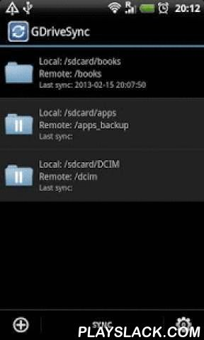 GDriveSync  Android App - playslack.com , GDriveSync can let you sync up folders between phones and Google Drive storage in 1-click or automatically, including photos, videos and everything else. It's easy to use and for daily usage.Features:★ Sync up folders in 1-click or automatically★ Multiple sync modes support, including two way, upload only and download only.★ Multiple folders can be synchronized. ★ Support multiple storages, including internal storage, external SD card and system…
