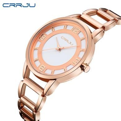 CRRJU New Fashion Silver Women  Relógios de Luxo À Prova D' Água Relógio de Pulso
