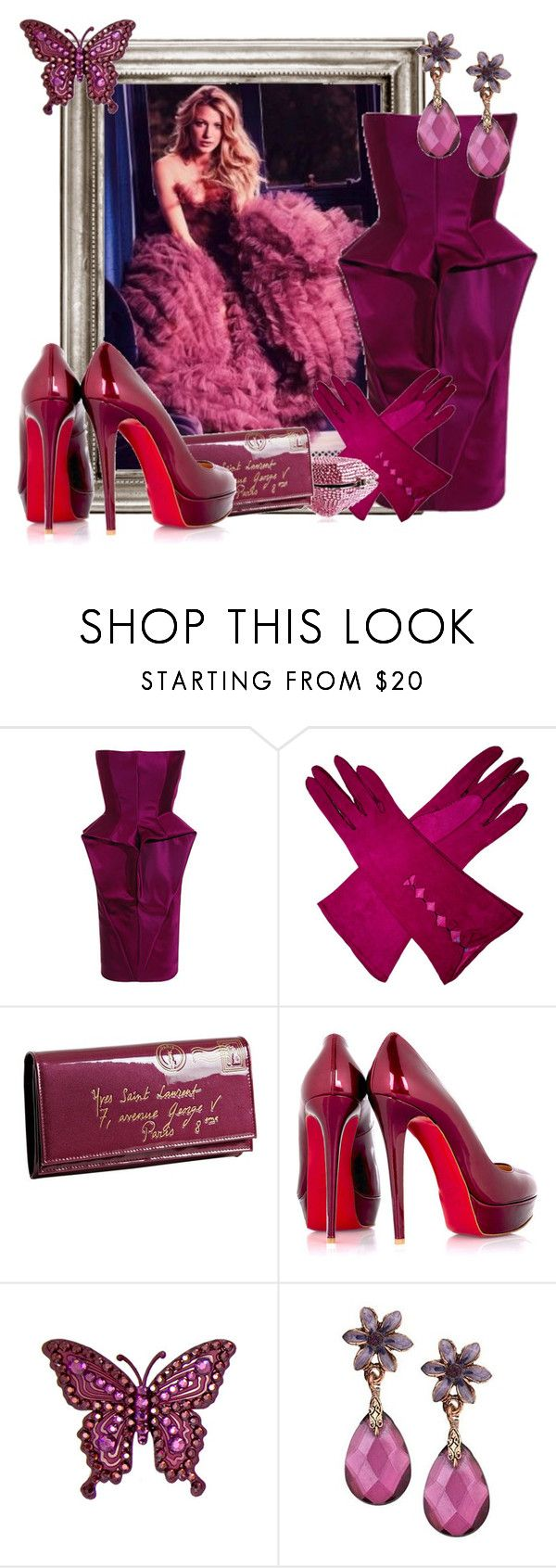 """18. Blake Lively ""What are you dining with the Queen??? - Agyness. THS"" by rjl1 ❤ liked on Polyvore featuring William Tempest, Leiber, Yves Saint Laurent, Christian Louboutin, Tarina Tarantino, 1928, blake lively, maroon, pumps and ysl"