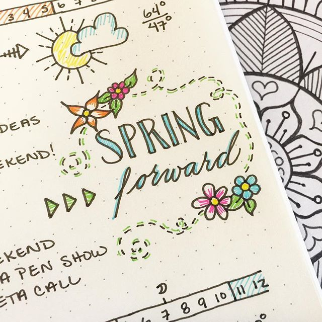 Don't forget to set your clocks forward this evening ☺️ We may lose an hour of sleep tonight but look on the bright side! Spring is right around the corner  - #BulletJournal #daylightsavings #mySTAEDTLER