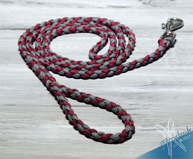 6 1/2 feet - Standard Paracord Dog leash - 4 strands - Stainless steel - Heavy Duty - Burgundy and Charcoal Grey