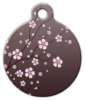 Asian Cherry Blossom - Custom Pet ID Tag for Dogs and Cats - Dog Tag Art >>> Want to know more, click on the image.