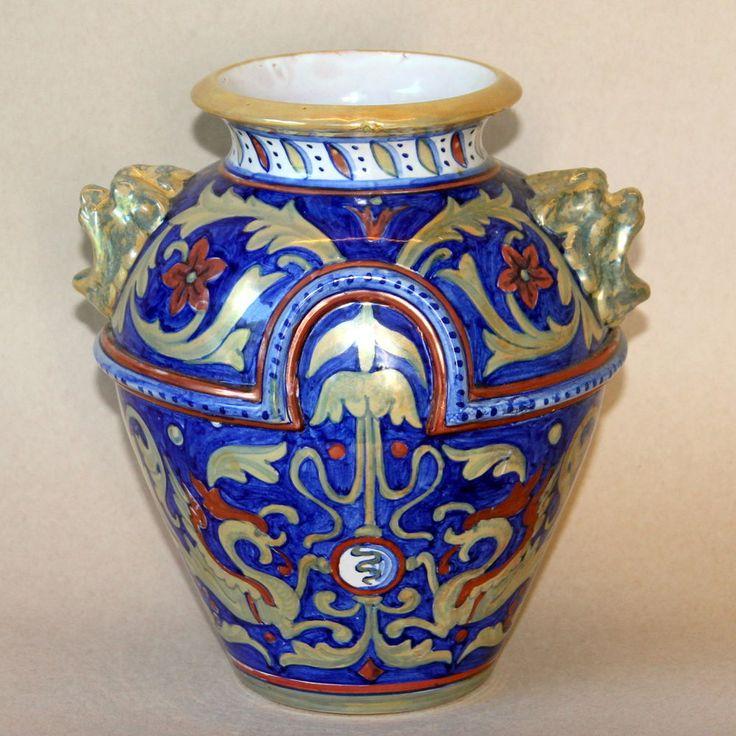 Antique AR Rubboli Italian Luster Majolica Pottery Vase SCU Robbia Gualdo Tadino