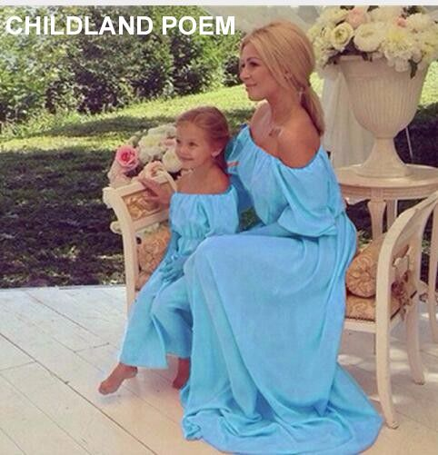 Summer family matching clothes maxi solid chiffon Mother Daughter Dresses Family look Clothing Beach mom and daughter dress
