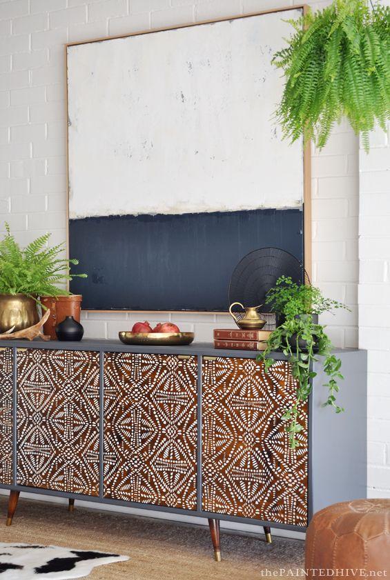 DIY Painted Pattern Furniture Makeover with Furniture Stencils - Decorated Custom Wood Cabinet Doors - Modern Mid Century - Tribal Batik Design - Royal Design Studio Stencils