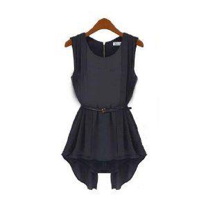 Aokin Women's Chiffon Slim Sleeveless Shirt Tops Blouse Belt Included (L, Black)