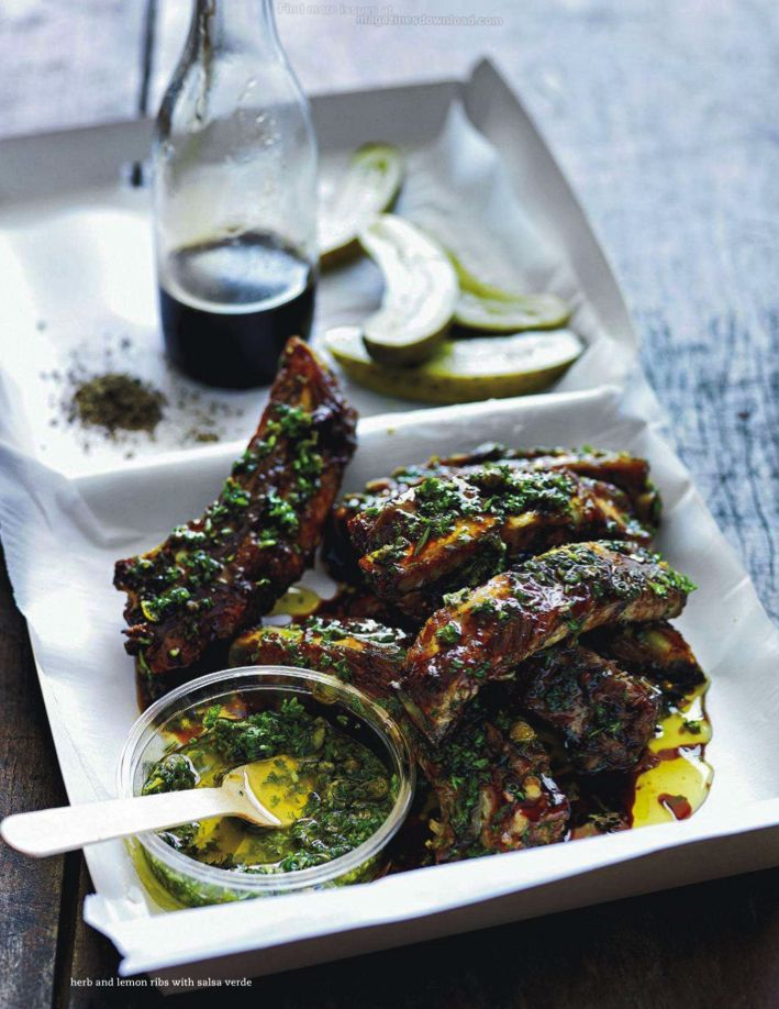 herb and lemon ribs with salsa verde.  donna hay magazine feb march 2014
