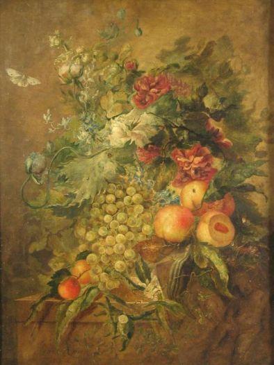 Dutch artist Jacob Xavery (b. 1736), Floral and Fruit Still Life, 1760, oil