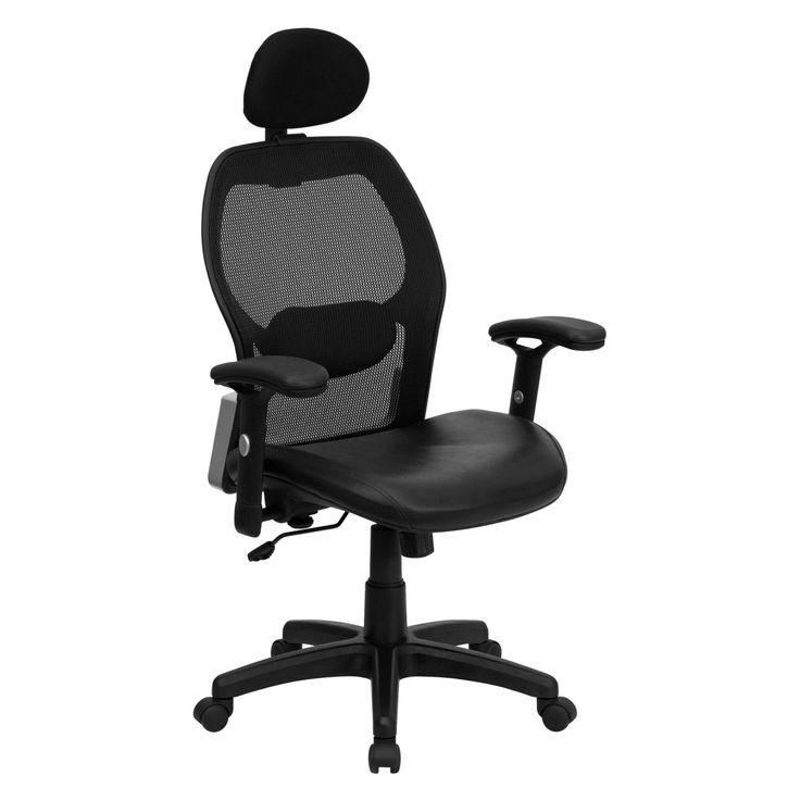 Flash Furniture High Back Super Mesh Office Chair - Black Italian Leather Seat - LF-W42B-L-HR-GG