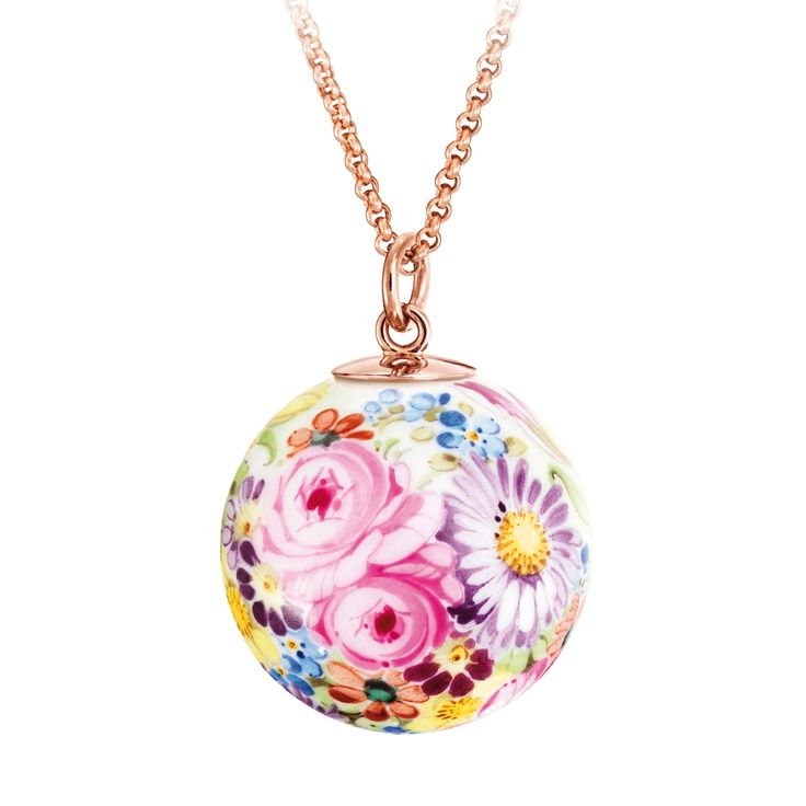 Pendant in Meissen Porcelain® Flower Meadow with loop in 18K rose gold, without chain, Ø 2,1 cm
