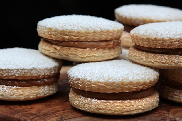 Alfajores... a Peruvian cookie made with delicate, flakey shortbread cookies with some homemade dulce de leche in the middle.  i've had these before from a restaurant and they are DELISH!  i cannot wait to make them for Jose!  : ))