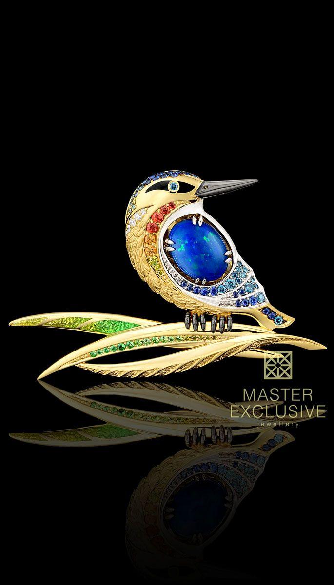 Collection: Birds of paradise  18K yellow and white gold, opal 2,25 ct, diamonds, black diamonds, blue diamonds, yellow diamonds,blue sapphires, orange sapphires, tsavority, enamel