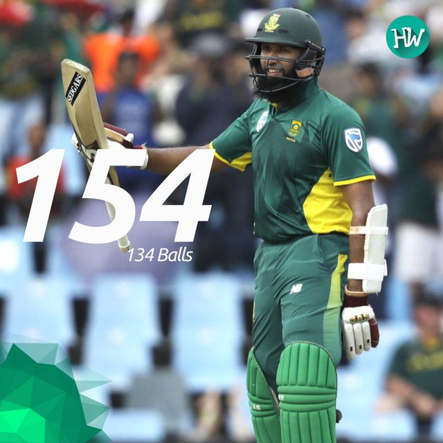 Hashim Amla recorded his 24th ODI century and helped South Africa post a massive total of 384 against Sri Lanka! #SAvSL #SL #SA #cricket