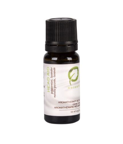 Head-Aid Essential Oil Blend made with Peppermint and Lavender essential oils to relieve tension, headaches and nausea.