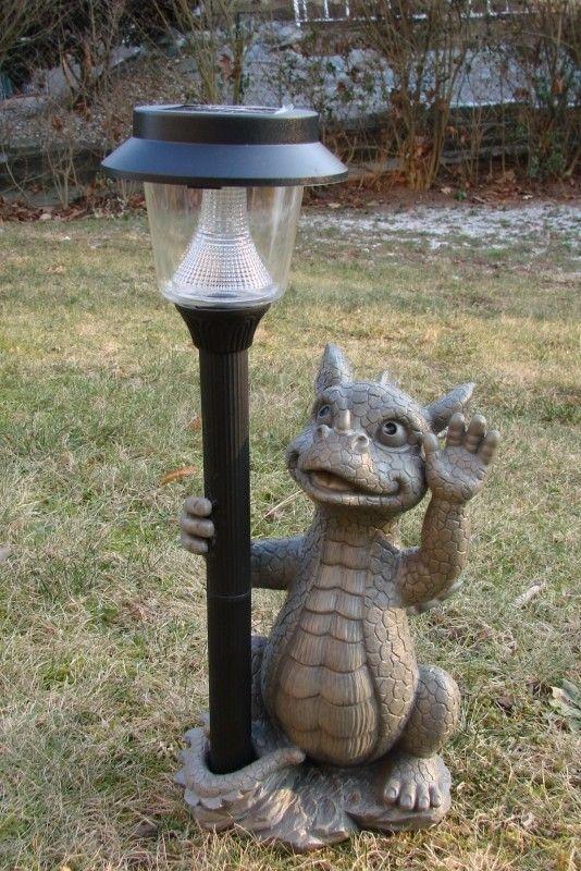 Gartendrache mit Solarlampe Drache Figur Gargoyle Solarlaterne Garten in Garten & Terrasse, Dekoration, Gartenfiguren & -skulpturen | eBay