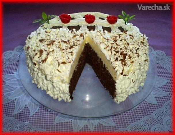 Šľahačkovo-kakaová torta s kokosovým krémom (fotorecept) - Recept