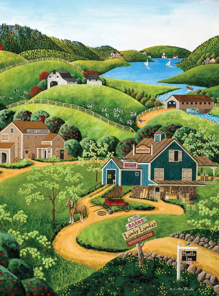 """1000 Pieces -- """"To The Barns"""" -- Art by Art Poulin; Puzzle by Buffalo Games; Completed size: 27"""" x 20""""; Purchased at Deseret Industries for $1.50 on 14 Nov 2014 and Completed on 16 Nov 2014; Pieces Missing: 1"""