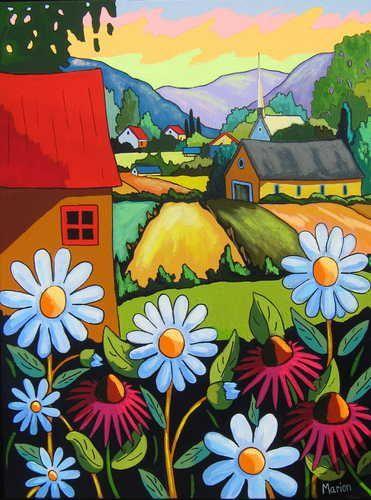Des marguerites pour Kamouraska - Louise Marion, artiste peintre, paysage urbain, Quebec, couleurs