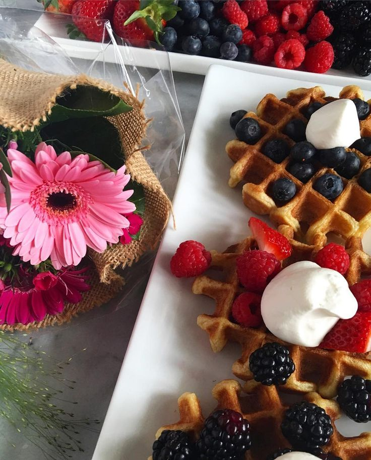 Birthday brunch for my wonderful mother!  She requested buttermilk Belgium waffles with freshly whipped cream, berries, maple syrup and thick cut bacon (not shown). Have a wonderful day mom... We love you lots! @zimmysnook