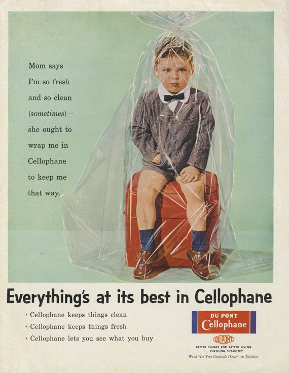 Funny Vintage Magazine Ad 1956 Du Pont Cellophane Print Advertisement Kid Wrapped Up Plastic Weird Wall Art Decor