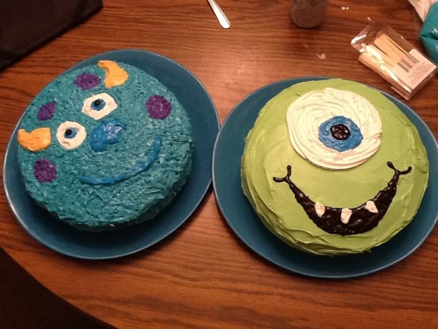 Homemade Parties Made Easy: Mike and Sulley cakes from Monsters inc.