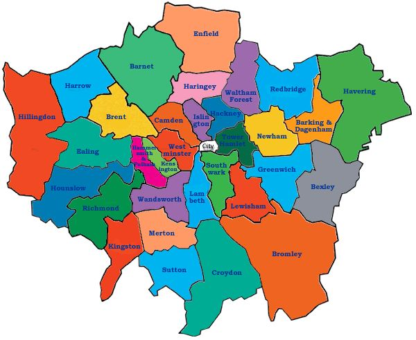 Map Of London By Area