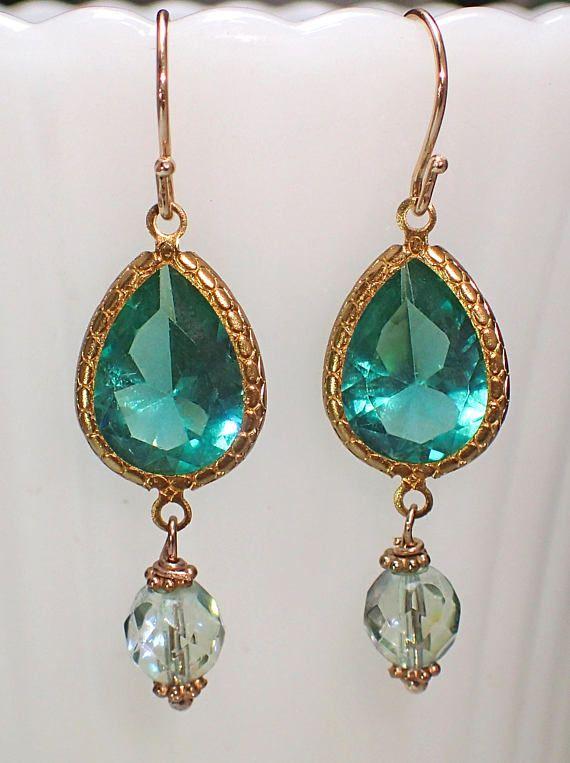 Emerald Green Dangle Earrings Art Deco Earrings Vintage