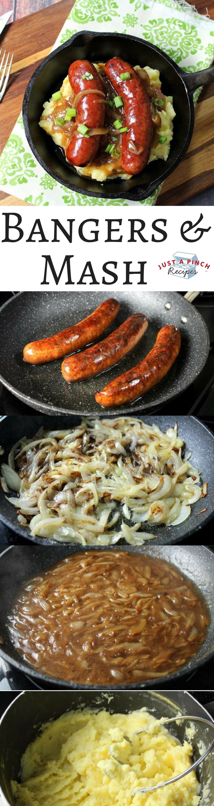 This homemade authentic bangers and mash is easy to make and ready in just 60 minutes! The sausages are juicy and the potatoes are buttery and creamy. Perfect for St. Patrick's Day!