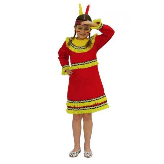 Indianen jurk voor meisjes. Rood met gele indianen jurk voor meiden. De jurk heeft lange mouwen en wordt geleverd exclusief accessoires. Accessoires zijn los verkrijgbaar in onze webshop. Carnavalskleding 2015 #carnaval